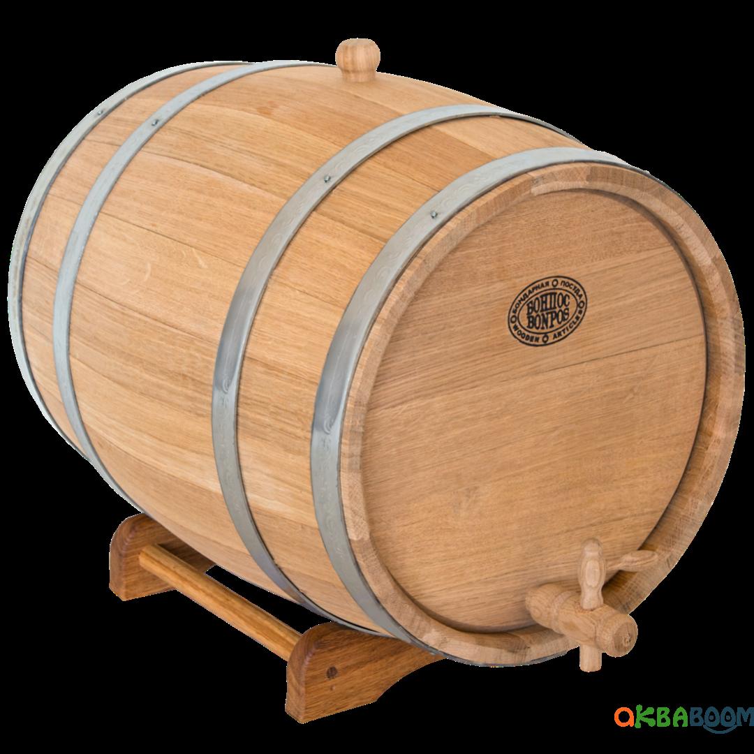 Бочка дубовая 30 л для вина, коньяка (нержавеющий обруч), Дубовые бочки, Для напитков, Украина, 30