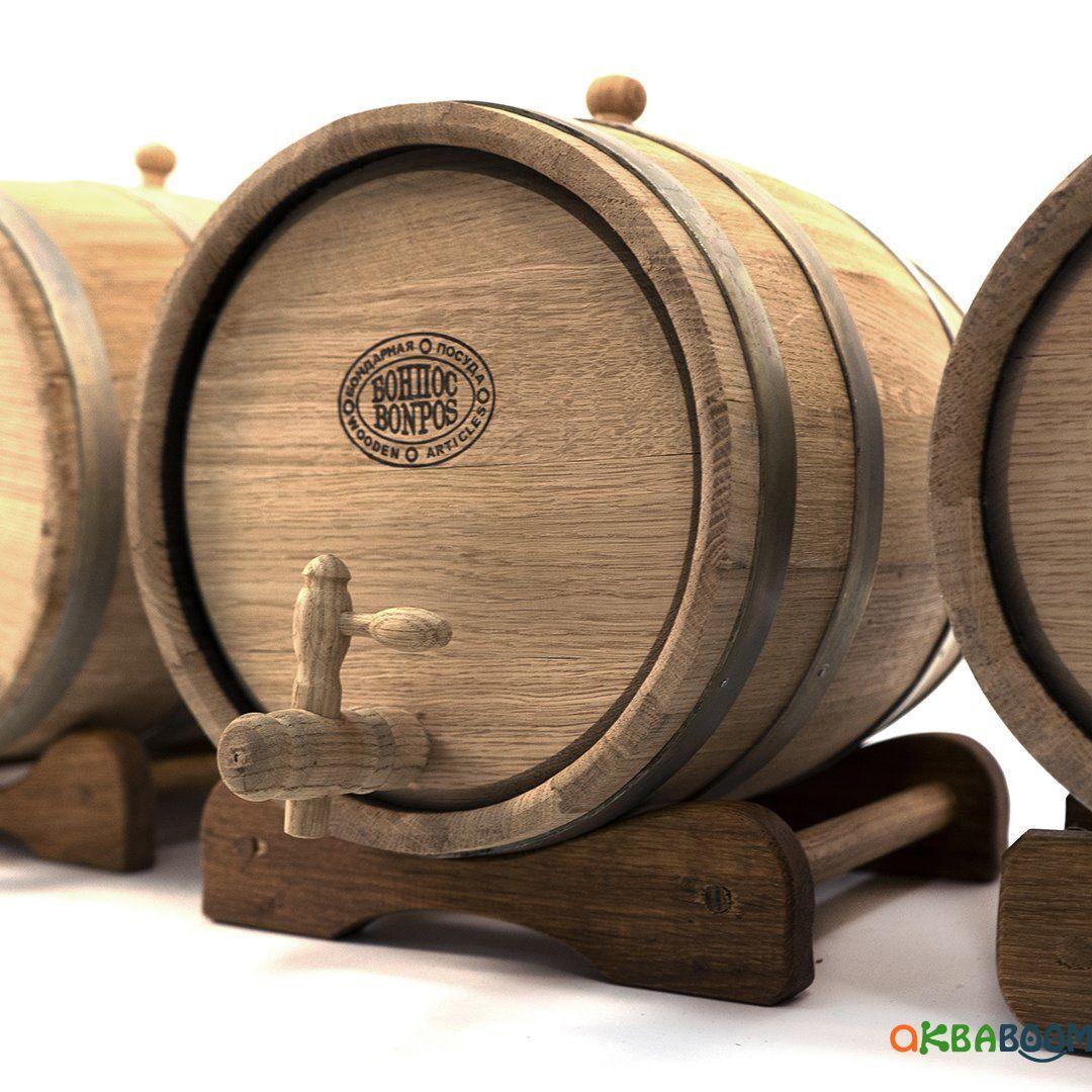 Бочка дубовая 5 л для вина, коньяка (оцинкованный обруч), Дубовые бочки, Для напитков, Украина, 5