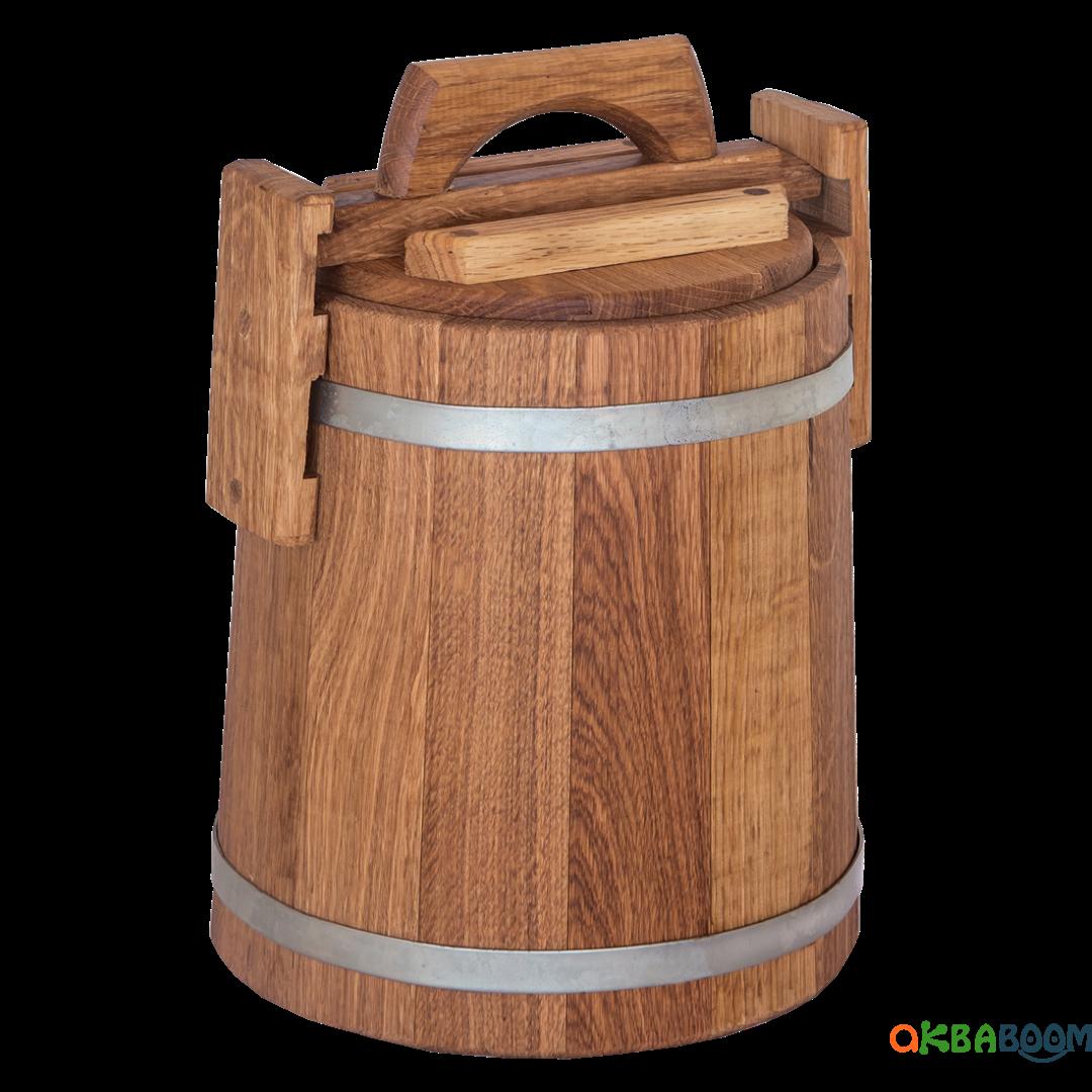 Кадка дубовая для солений 5 л БонПос (оцинкованый обруч), Кадки, Для солений, Украина, 5