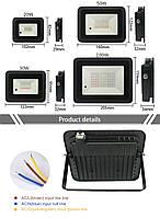 Світлодіодний прожектор LED MW-20W RGB 220в IP65, фото 4