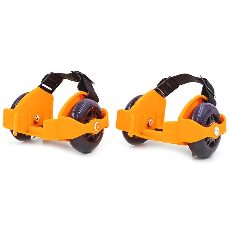 Ролики на пятку двухколесные с раздвижной системой Record Flashing Roller SK-166 Оранжевый