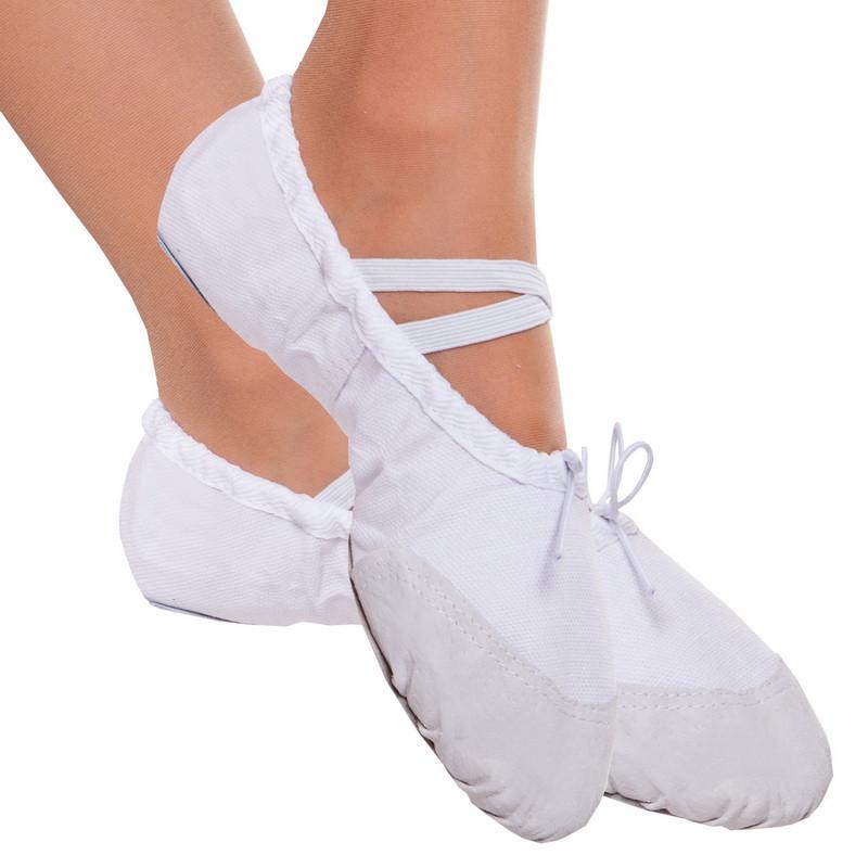 Балетки белые для танцев тканевые с нашивками размер 27