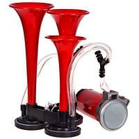 Сигнал возд CA-10730/Еlephant/3-дудки пластик,красный 12V/165mm,200mm,215mm/2режима (CA-10730), фото 1
