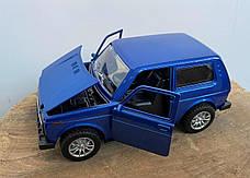 Масштабная модель автомобиля Лада Нива Точная копия 1:24, Ваз 2121. Синяя., фото 3