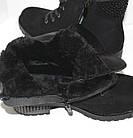 Зимние замшевые ботинки на шнурках и молнии низкий каблук, фото 8