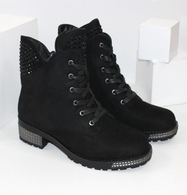 Зимние замшевые ботинки на шнурках и молнии низкий каблук