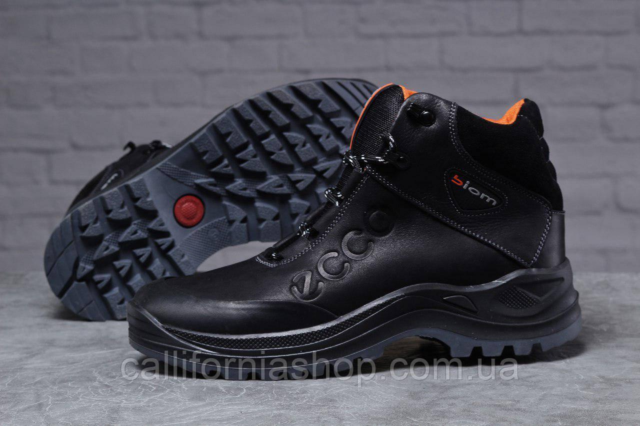 Зимние мужские черные высокие ботинки Ecco Biom Экко Биом из натуральной кожи на меху