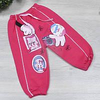 Спортивные штаны, трикотаж на флисе, для девочки 1-2-3 года, Малиновый