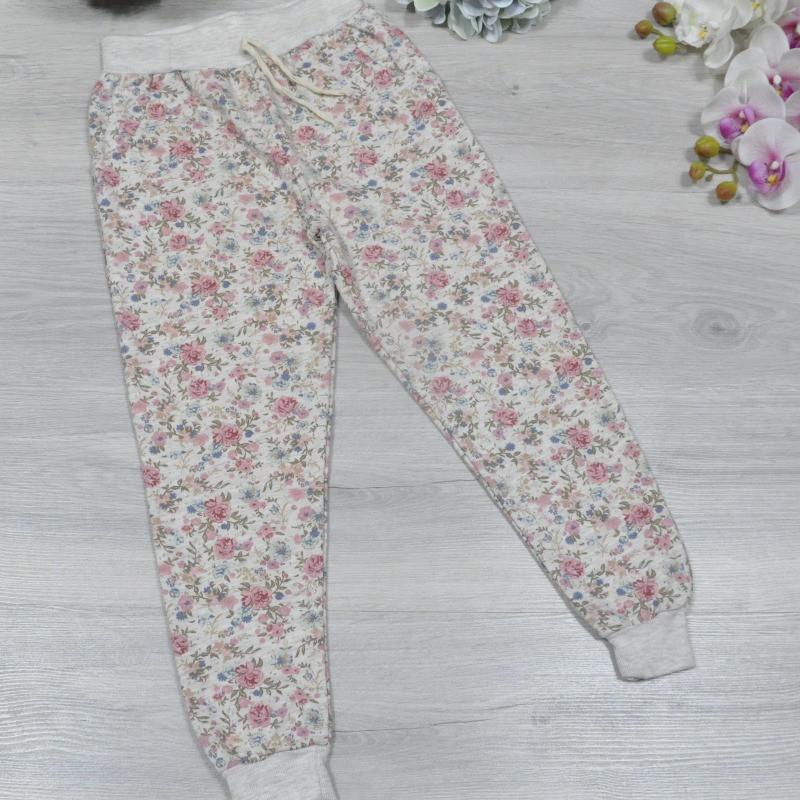 Детские спортивные брюки из трикотажа, утеплены байкой, для девочки 3-4, 5-6, 7-8, 9-10 лет (4 ед в уп), Беж