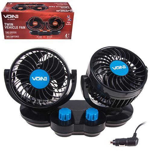 """Вентилятор VOin HX-T307 4"""" 12V 6.5W двойной две скорости/две регулировки (HX-T307)"""