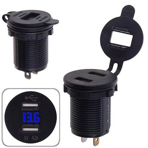 Автомобильное зарядное устройство 2 USB 12-24V врезное в планку + вольтметр (10254 USB-12-24V 4.2A BLU)