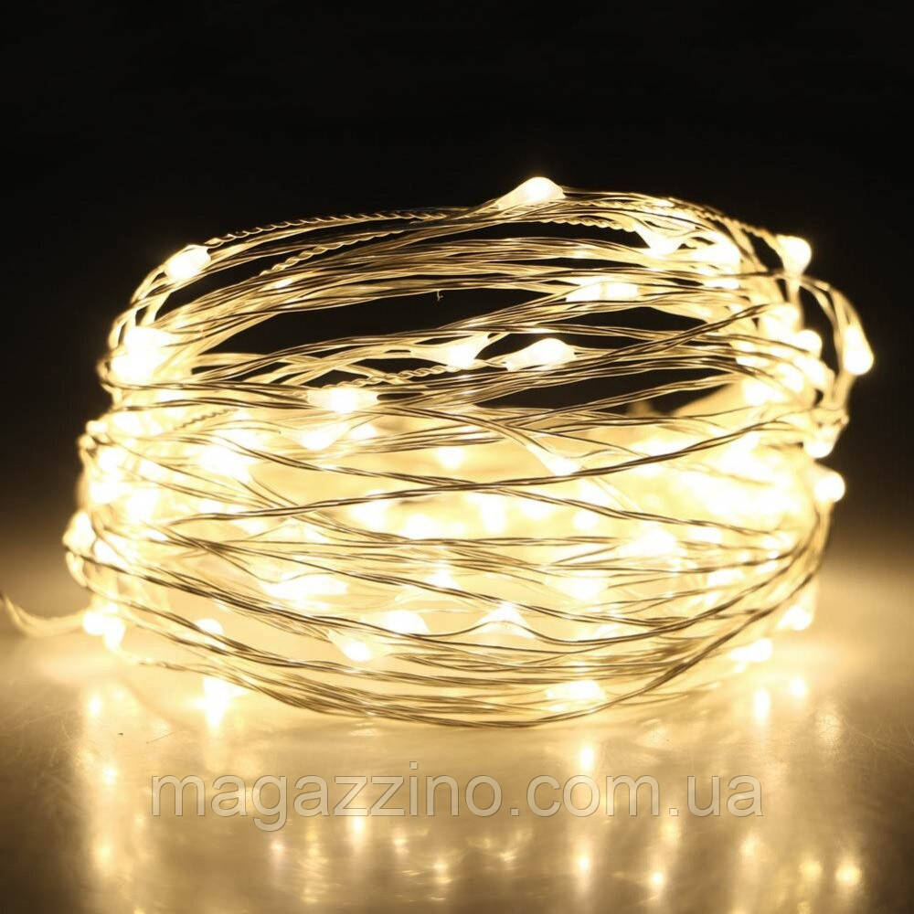 Гирлянда нить светодиодная Капли Росы 20 LED, Золотая (Желтая), проволока, на батарейках, 2м.