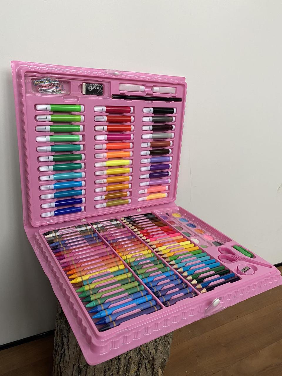 Детский набор для рисования, художественный набор для рисования в чемоданчике 150 предметов Розовый