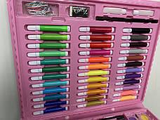 Детский набор для рисования, художественный набор для рисования в чемоданчике 150 предметов Розовый, фото 3