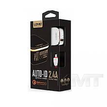 Комплект домашнього зарядного пристрою Ldnio DL-A1204Q (Lightning) (1USB) (2,4 A) - Білий