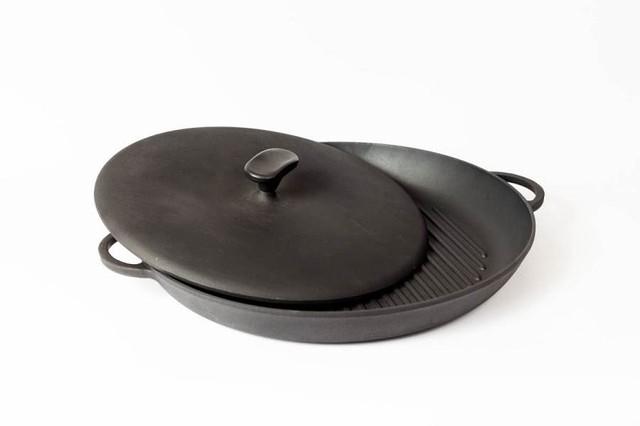 Сковорода гриль чугунная с прессом , d=340мм, h=40мм