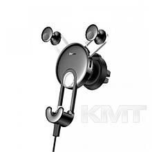 Автомобільний тримач для зарядки телефону Baseus YY з USB-кабелем — Black