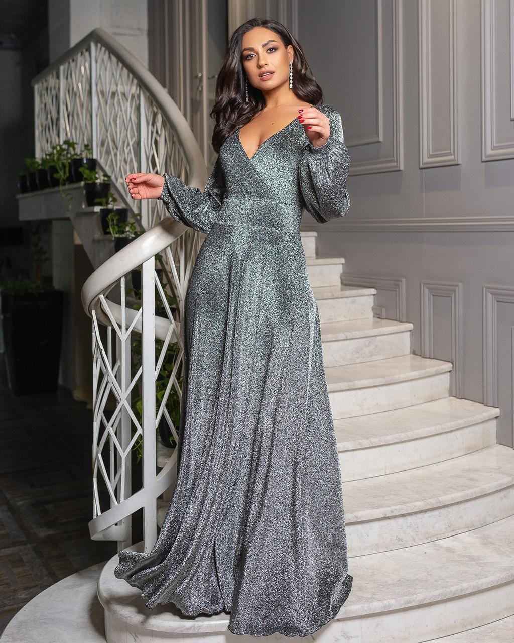 Сукня срібло вечірнє