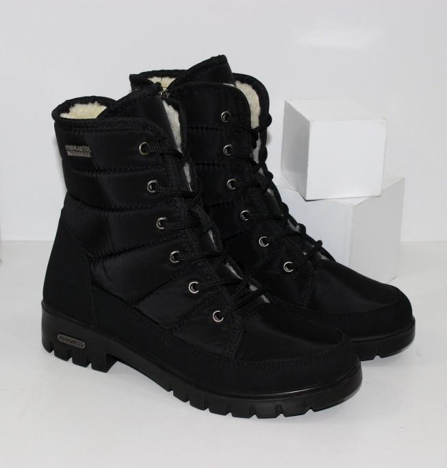 Женские ботинки дутики черные на шнурках и молнии