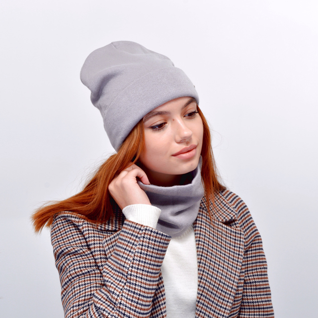Комплект Изабелла 18026 (шапка+хомут) Серый