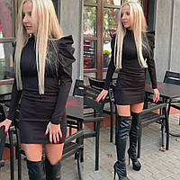 Нарядное Черное Вечернее мини Платье с фигурными рукавами