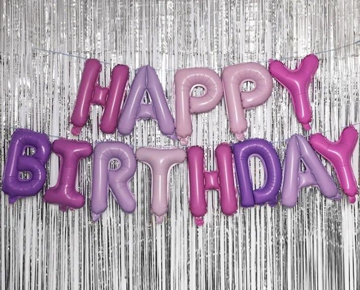 Фольгированные шары буквы HAPPY BIRTHDAY пантонные, высота 40 см