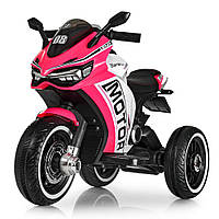Детский электромотоцикл с мотором 2 мотора25W,2 аккумулятора 6V4,5AH, MP3, USB, свет, кожа, розовый M 4053L-8