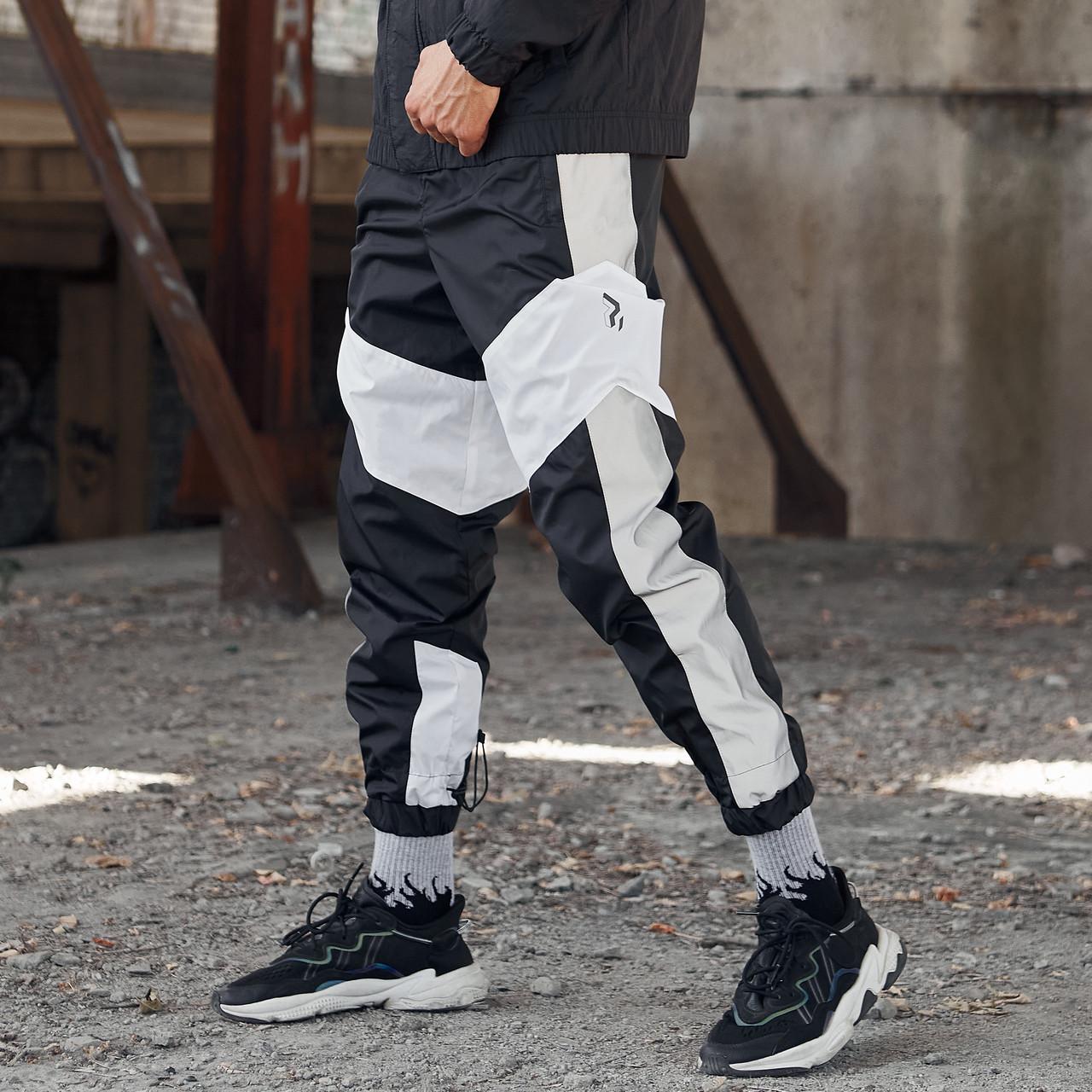 Теплі спортивні штани Гармата Вогонь Split чорно-білі з рефлективом