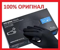 Без пудры, не стерильные черные нитриловые перчатки M,L Medicom Nitrylex Mercator Black 100 шт! Лучшая цена!