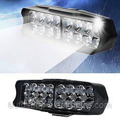 Яркая светодиодная LED Фара + Стробоскоп / Фонарь для авто, мотоцикла, скутера ( 16 LED, 12V, 24 Вт, 6500K )