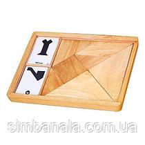 Гра-головоломка Viga Toys Дерев'яний танграм незабарвлений, 7 ел. (56301)