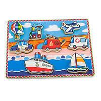 Деревянная рамка-вкладыш Viga Toys Транспорт (56436), фото 1