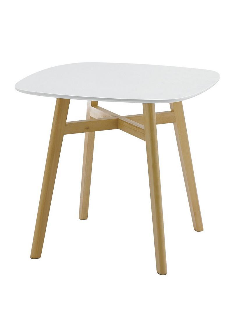 Стіл обідній МДФ TM-34 білий, квадратний, що не розкладний, бук, 80 діаметр