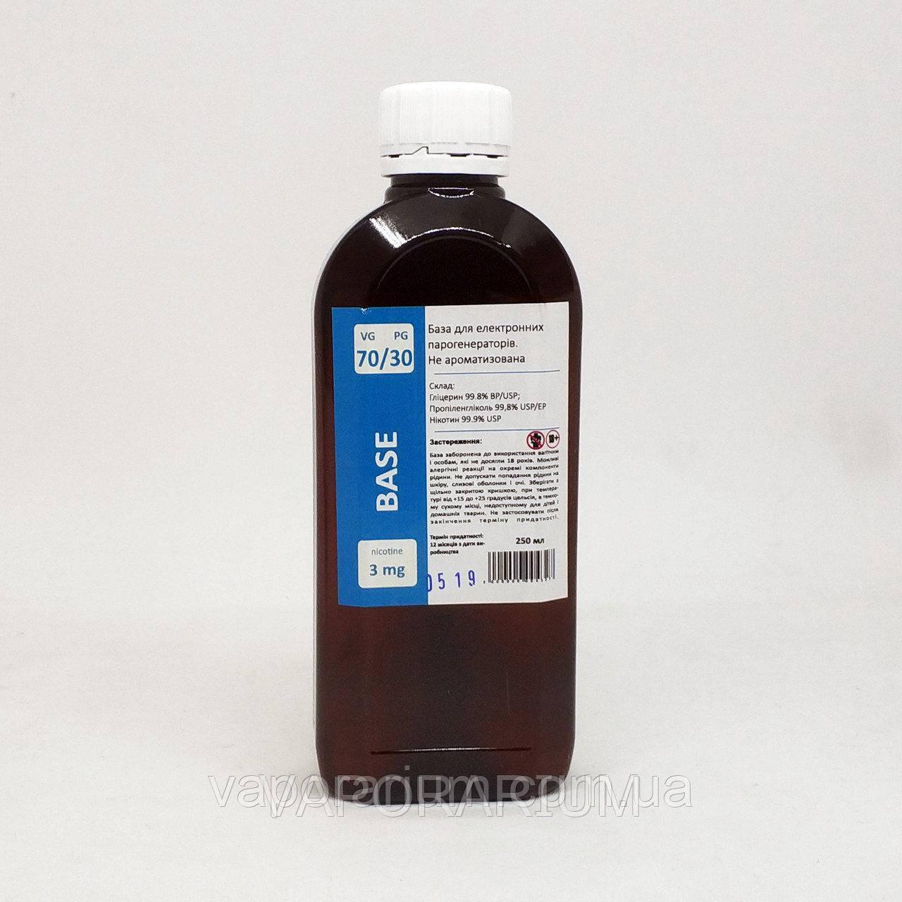 Жидкость-база для электронных сигарет 3 мг 70/30 250 мл