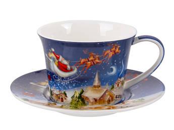 Новогодняя чашка с блюдцем Рождество 220мл
