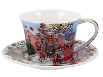 Новогодняя чашка с блюдцем Зимний пейзаж 220мл 924-654