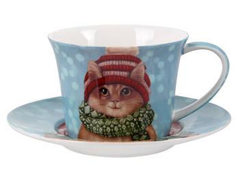 Новогодняя чашка с блюдцем с котиком 220мл 924-656