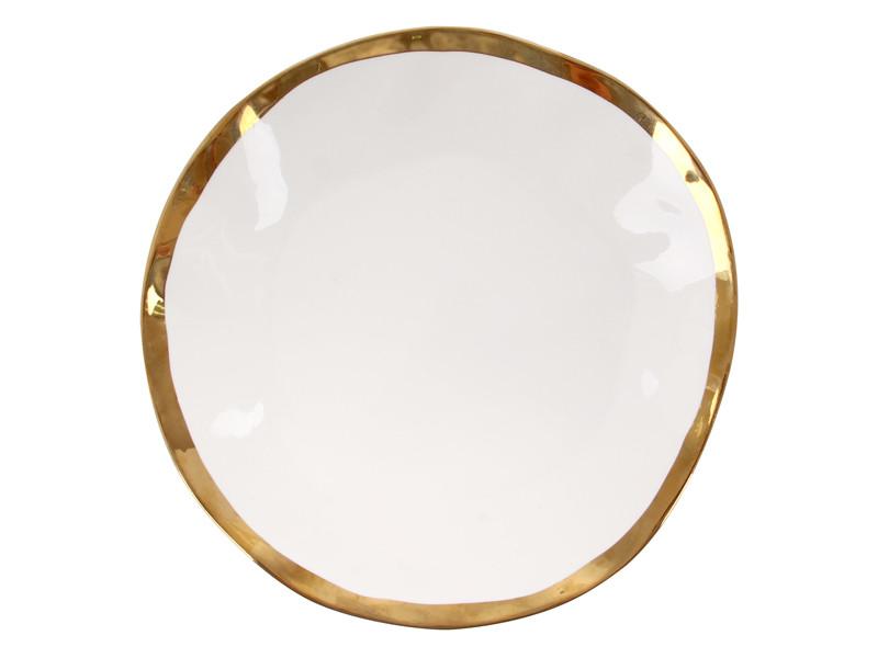 Велика тарілка з золотим обідком 26см