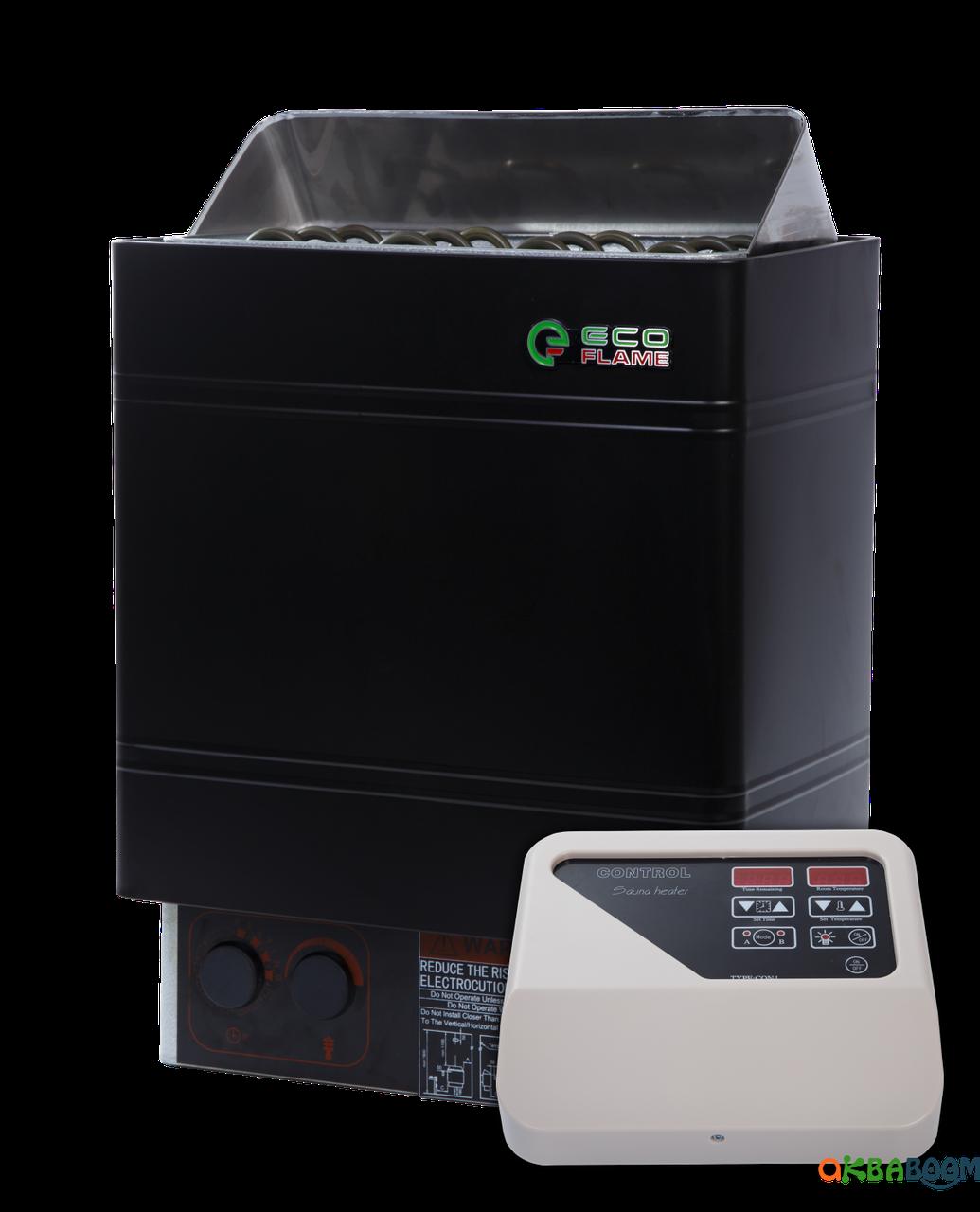 Электрокаменка EcoFlame AMC 60 D + пульт CON4, 5-10 м3, 6 квт, 220/380, Настенная, Выносной