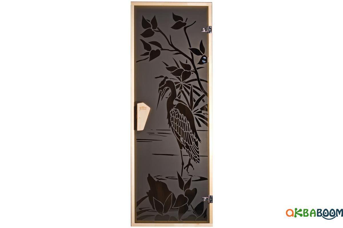 Двери для бани и сауны Tesli Чапля 1900 х 700, Дверь стеклянная, Украина, 70/190