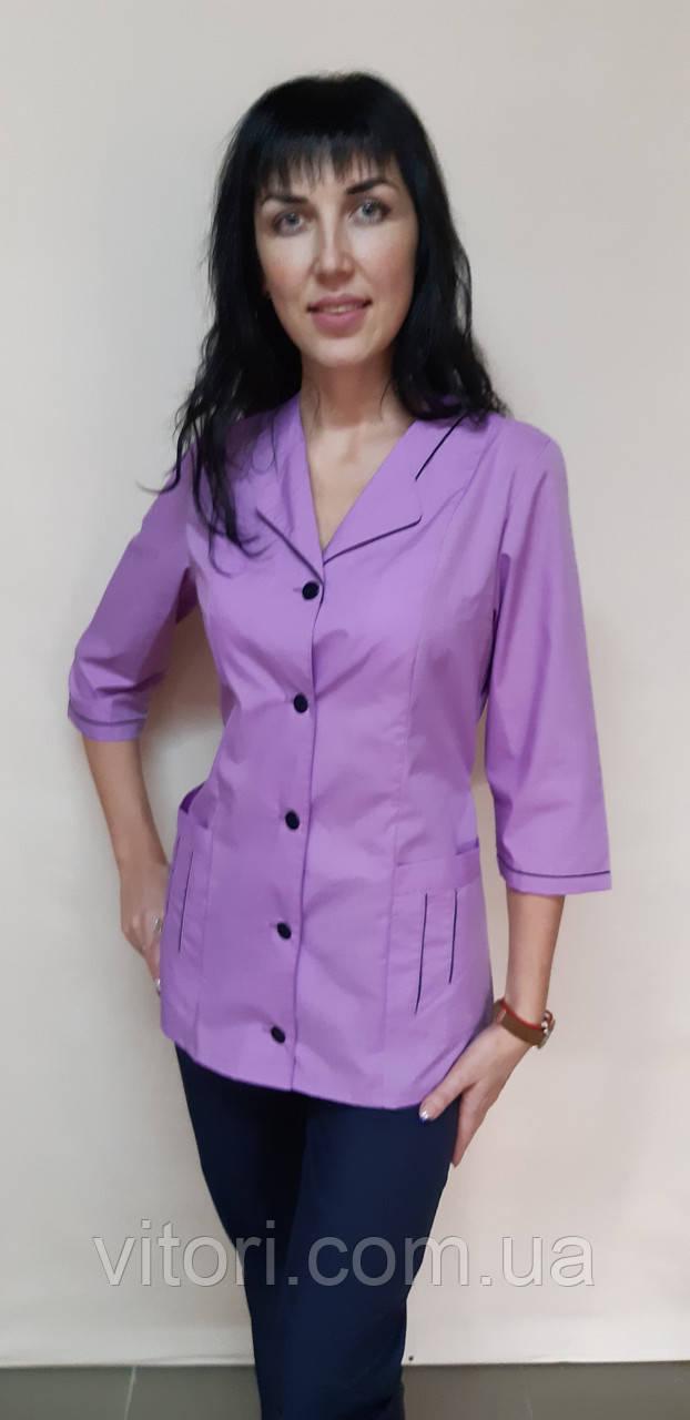 Медицинский женский костюм Зина коттон три четверти рукав