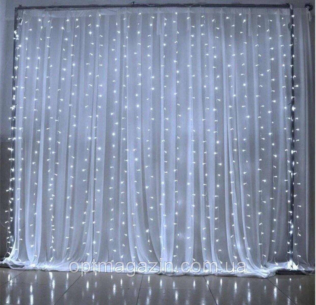 Гірлянда Штора-Водоспад Waterfall прозорий шнур велика лампа 3*2 м 240 LED білизна з перехідником