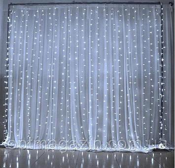 Гірлянда Штора-Водоспад Waterfall прозорий шнур велика лампа 3*2 м 240 LED білизна з перехідником, фото 2