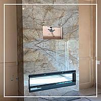 Камін в інтер'єрі вітальні в сучасному стилі., фото 1
