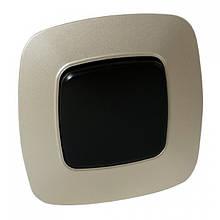 Выключатель 1-клавишный черный-золото ELA