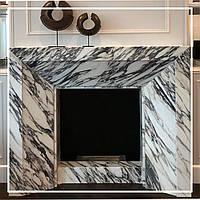Сучасний камін з мармуру Zebra White: ціна, замовити., фото 1