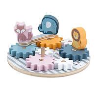 Деревянный игровой набор Viga Toys PolarB Шестеренки со зверятами (44006), фото 1