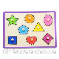 Деревянная рамка-вкладыш Viga Toys Цветные фигуры (50015)