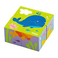 Деревянные кубики-пазл Viga Toys Подводный мир (50161), фото 1