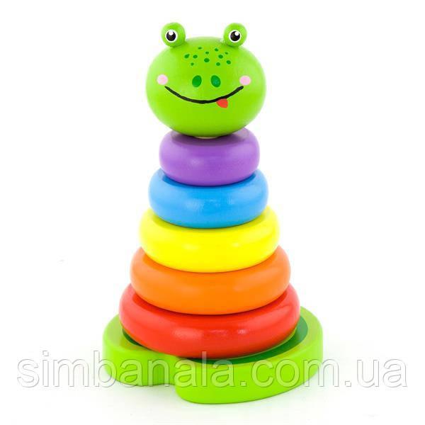 Деревянная пирамидка Viga Toys Лягушка (50258)